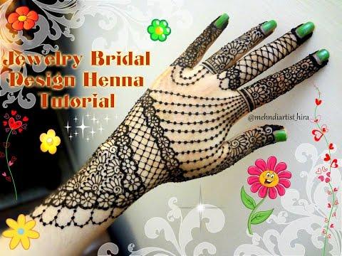 Beautiful jewellery inspired bridal mehdi henna design Tutorial for weddings