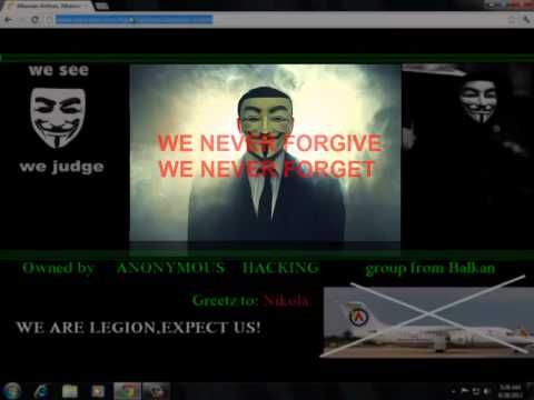 Albanian airport website hacked by ANONYMOUS HACKERS