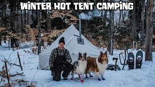 Winter Hot Tent Camping with My Dogs