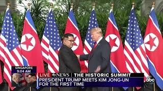 President Trump meets Kim Jong Un for the first time