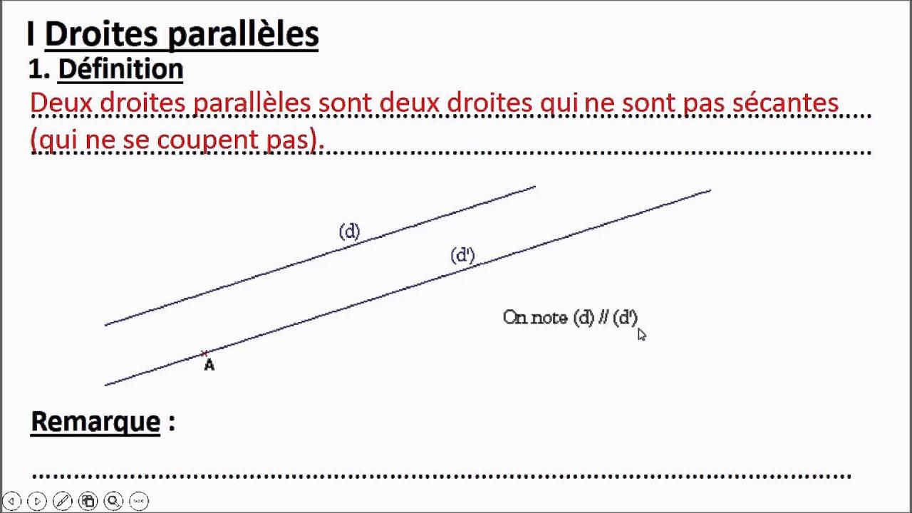 Niveau 6 me g4 a d finition de droites parall les for Definition de