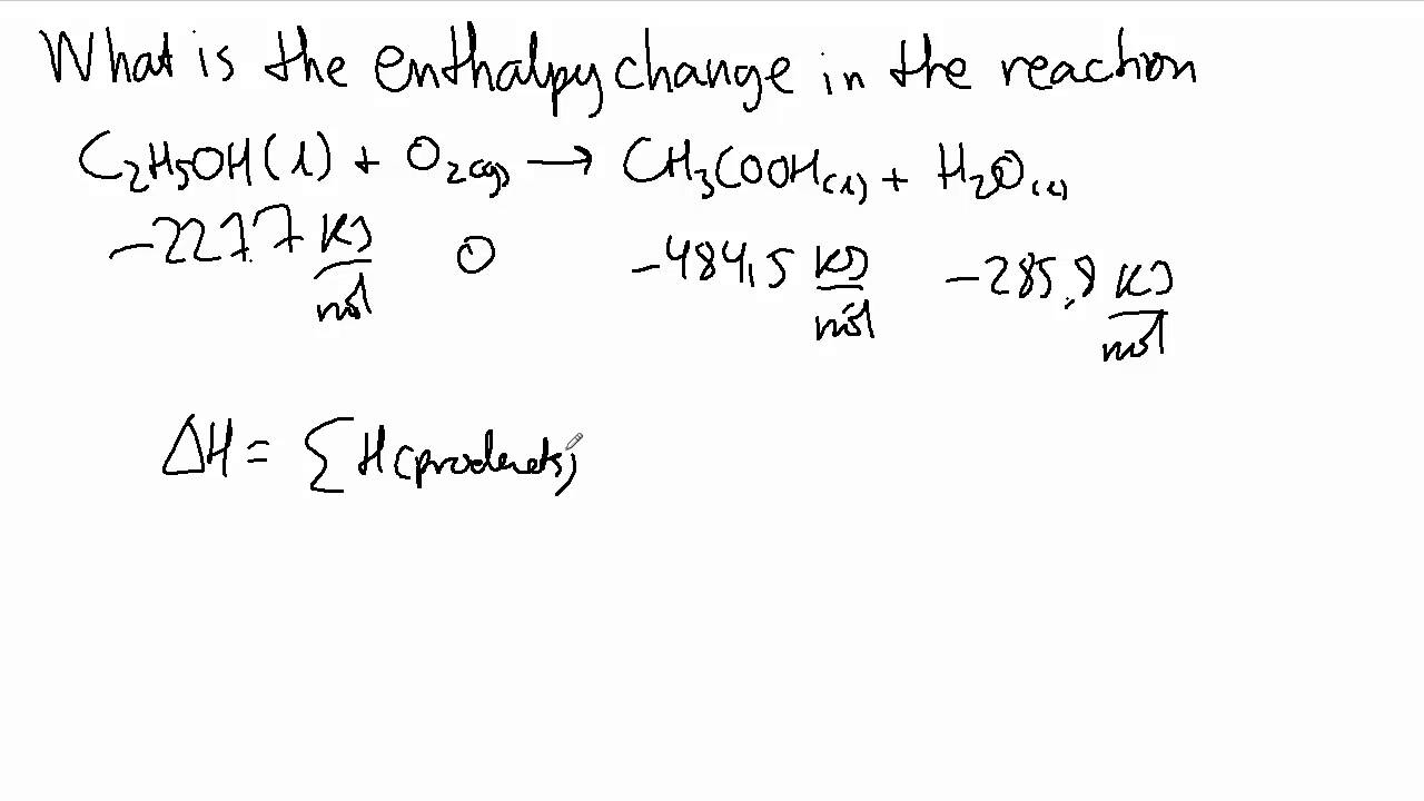 enthalpy change of reaction The aims of the experiment are: (i) to determine the enthalpy change which  for  chemical reactions, one can define a standard enthalpy of reaction by.