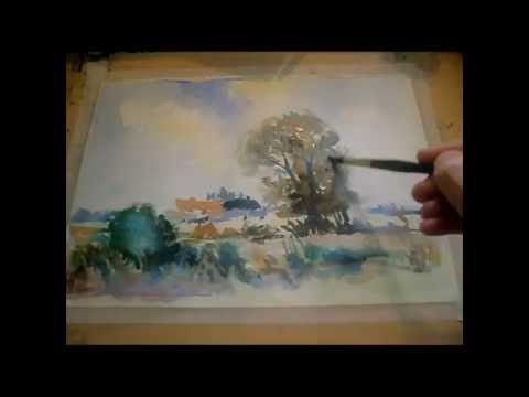 How to Paint an Impressionist Watercolour Fast And Loose Blustery Norfolk Landscape