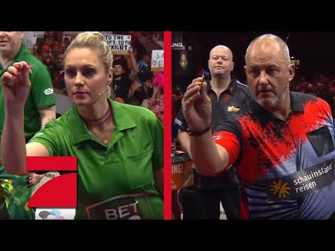 Frank Rosin & Phil Taylor vs. Ruth Moschner & Peter Wright   Gruppenphase   Promi Darts WM