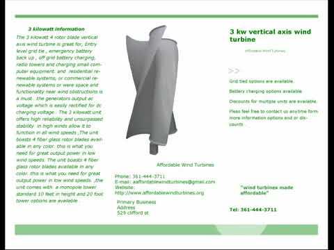 3 kilowatt vertical axis wind turbine from affordable wind turbines 360p