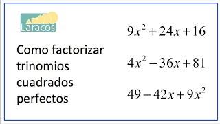 Factorización de Trinomio Cuadrado Perfecto