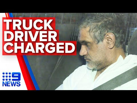 Truck driver charged after Eastern Freeway crash | Nine News