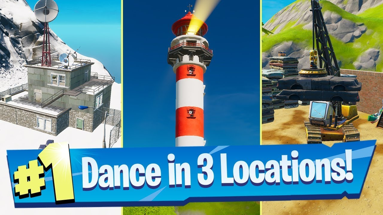 Dance At Compact Cars Lockies Lighthouse And A Weather Station Locations Fortnite Battle Royale