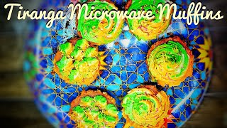 Tricolor Muffin in Microwave | 5 Min Recipe | Cake Mix Muffins | How to make 3 colour Icing on cake|
