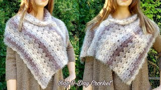 How To Crochet Easy Wrap | Soft Cinnamon | Crochet Shawl | BAG O DAY CROCHET TUTORIAL #526