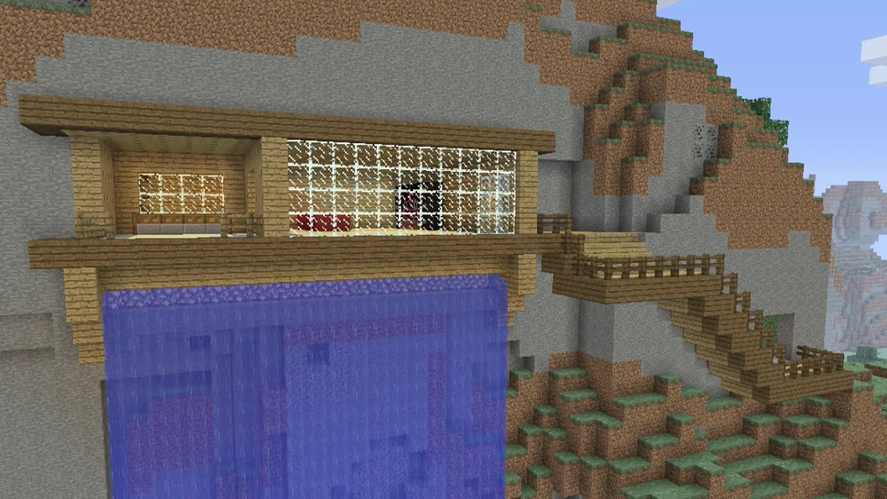 Minecraft awesome cliffmountain survival house 25 youtube sciox Image collections
