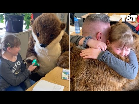 Soldier Surprises Stepdaughter With Homecoming In Otter Mascot Costume