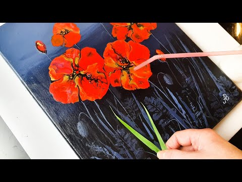 Painting Beautiful Poppies using REAL Plants - Straw Blow | ABcreative | Acrylic Pouring Tutorial