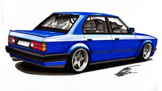 Realistic Car Drawing - BMW E30 - Time Lapse