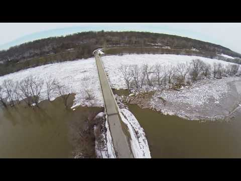 Wabash River Carrollton Bridge Ice Jam February 2014