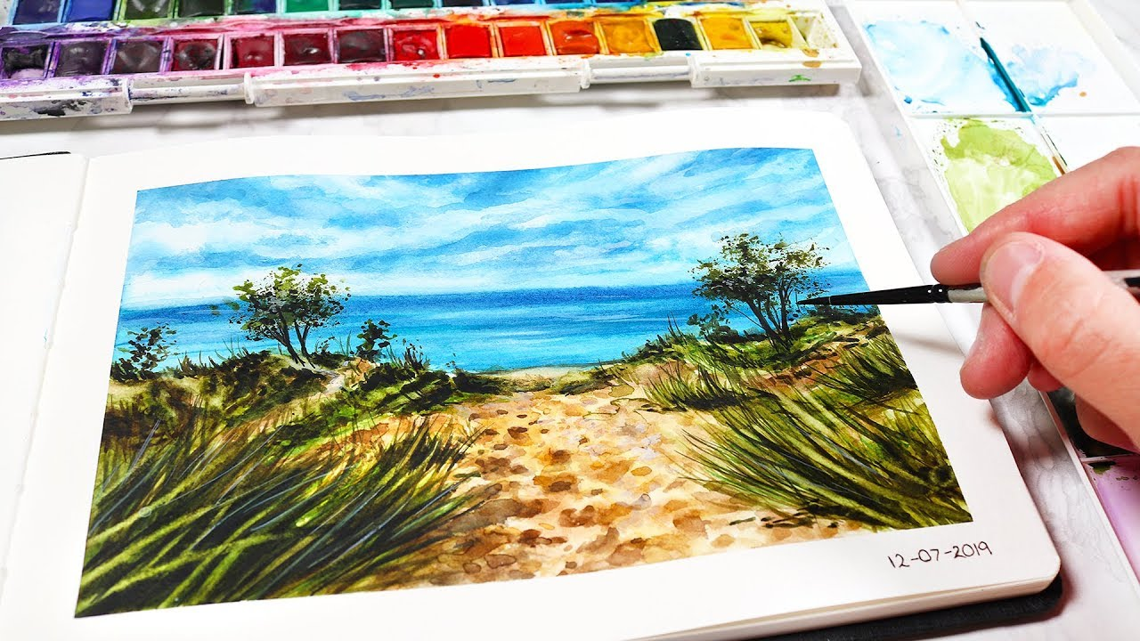 Easy Beach Watercolor Painting For Beginners Watercolor Painting Ideas Youtube