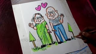 How to Draw Grandma and Grandpa Drawing for Kids