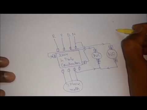 how to connect a 4 pole contactor with no nc switch