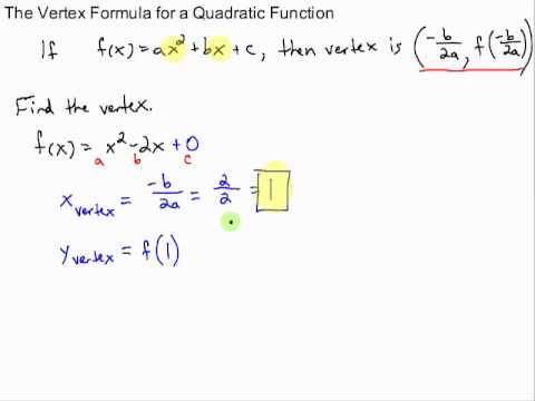 Vertex Formula Of A Quadratic Function Youtube