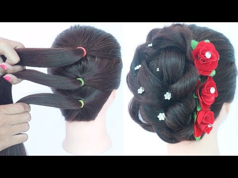 easy messy updo with trick || hairstyles for girls || new hairstyle || bridal hairstyle || hairstyle thumbnail