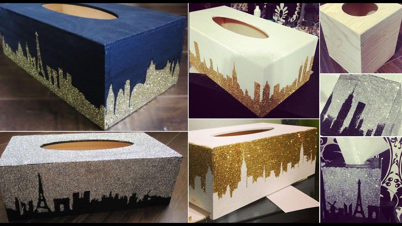 Diy Glitter Design Tissue Box Youtube