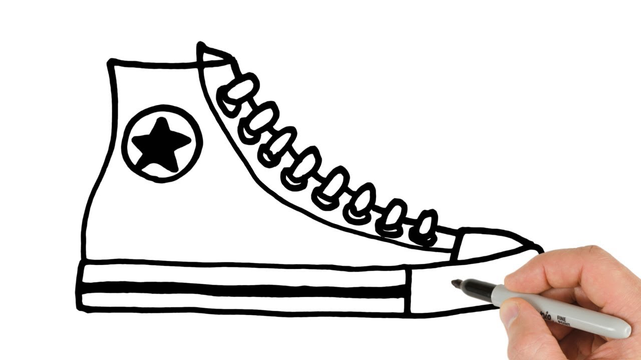 b8a086b5c0c8 How to Draw Converse Shoes Sneakers Easy Drawing - YouTube