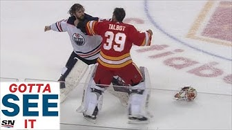 GOTTA SEE IT: Goalie Fight! Mike Smith Fights Cam Talbot As Oilers & Flames Erupt In Line Brawl