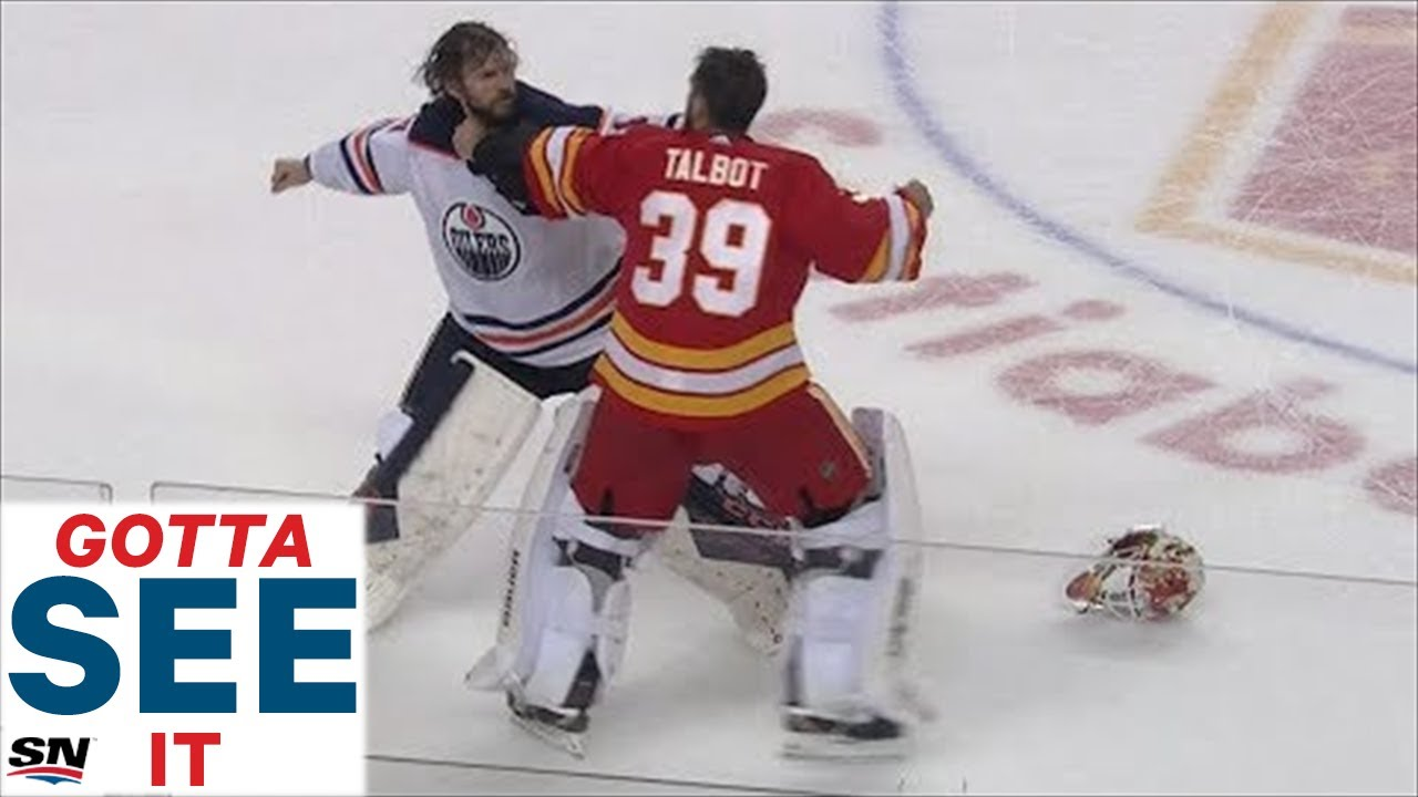 Gotta See It Goalie Fight Mike Smith Fights Cam Talbot As Oilers Flames Erupt In Line Brawl Youtube