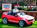 LITTLE HEROES Power Wheels Mustang + Peg Perego John Deere Tractor Late for Work video parody
