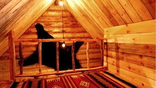 Free DIY Wood Railing in the Loft of an Off Grid Log Cabin   Traditional Woodworking with Hand Tools