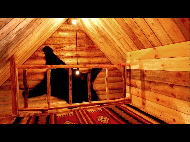Free DIY Wood Railing in the Loft of an Off Grid Log Cabin | Traditional Woodworking with Hand Tools
