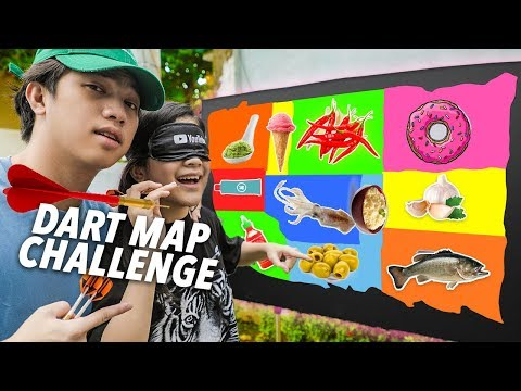 Throwing a Dart at a Map & EATING what it Lands on! | Ranz and Niana