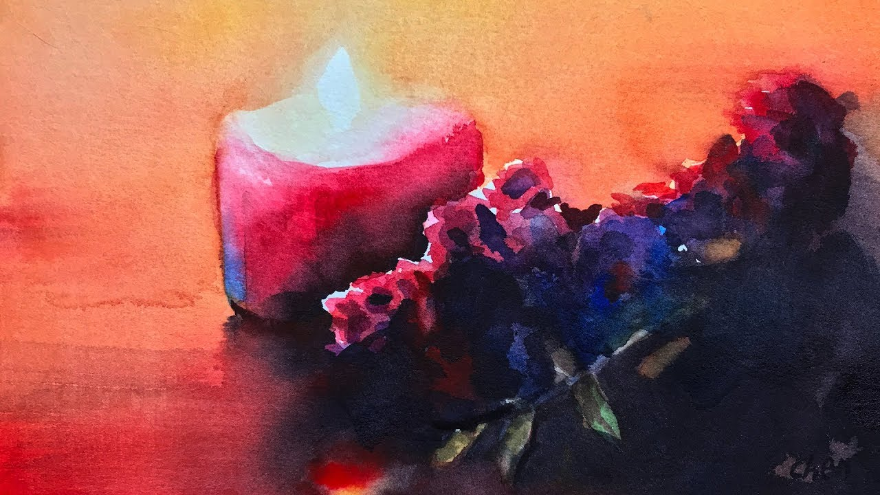 Candle Light Painting Happy Holidays Watercolor Greeting Painting Of Candle Light