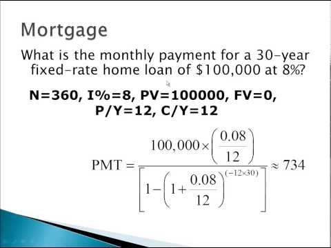 Mortgage calculation example