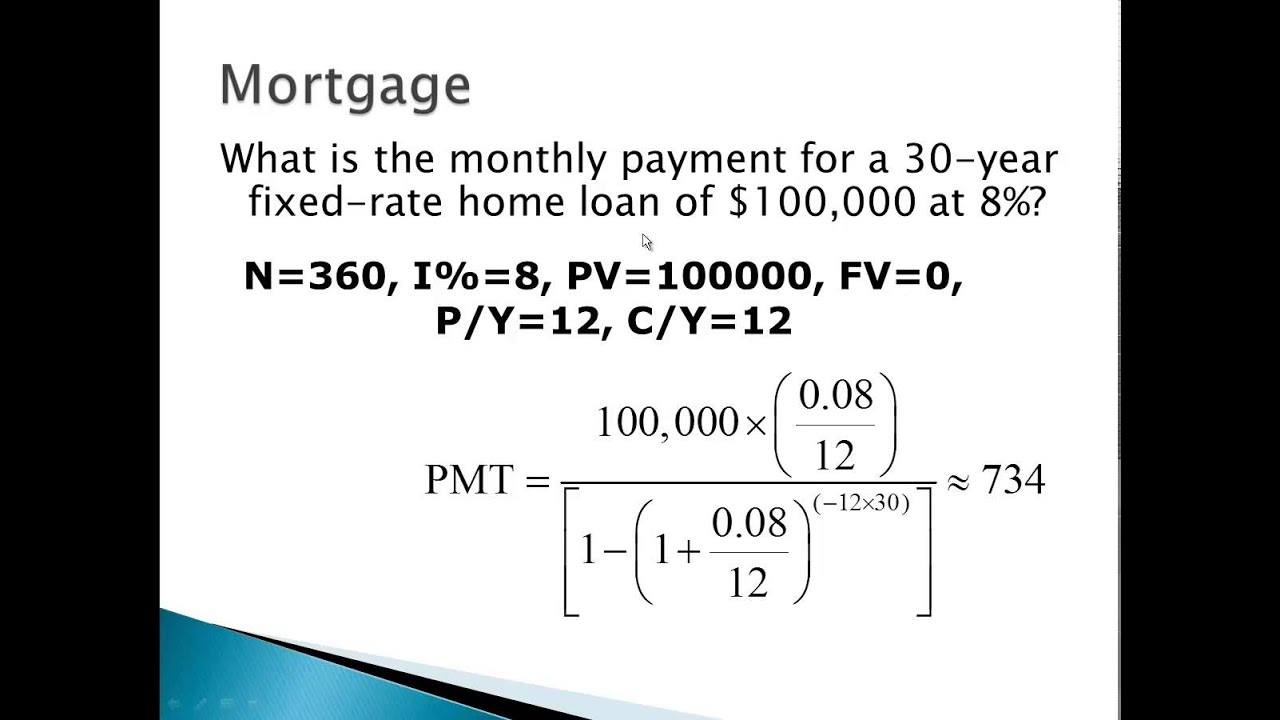 Mortgage calculation example - YouTube