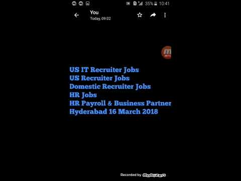 Latest jobs Hyderabad, US IT Recruiter / HR / Domestic Recruiter Jobs Hyderabad March 2018