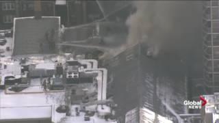 Firefighters battling massive building fire in Toronto