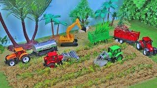 Farm Vegetables and Harvester Kids Toys | Bruder Farm Vehicles, Excavator , Tractor ,Wheel loader