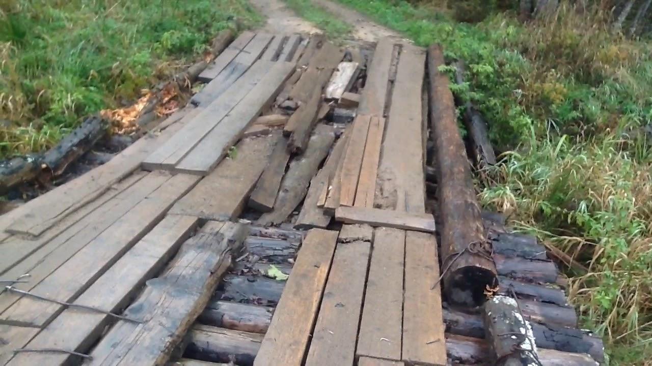 Мост не ремонтируется, дорогу к мосту гробят лесовозы в Фировском районе Тверской обл.