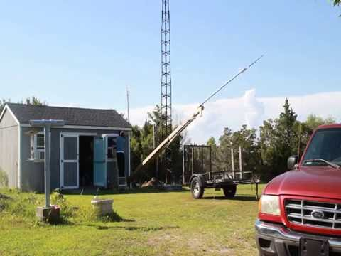 Lowering the wooden ham tower