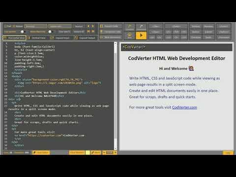 CodVerter   Online HTML Web Development Editor & Viewer