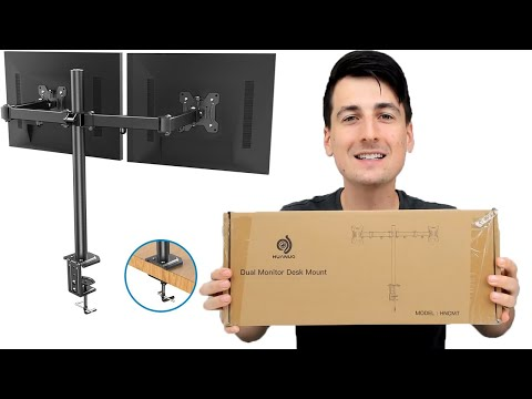 cheapest-dual-monitor-stand-on-amazon-//-huanuo-dual-monitor-desk-mount-installation