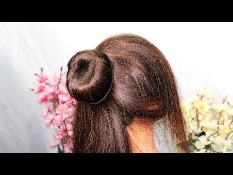 बनाये-सुंदर-और-आसान-जुड़ा-शादी-पार्टी-के-लिए---beautiful-new-bun-hairstyle---hairstyle-with-trick