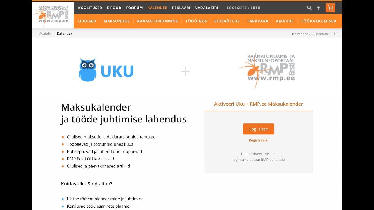 2ad03e7a523 RMP.ee maksukalender ja tööde juhtimise lahendus Uku - YouTube