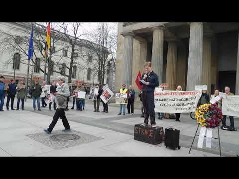 Kundgebung Berlin 24.3.2019: C. Praetorius u.a. zum NATO-Angriffskrieg gegen Jugoslawien 24.3.1999