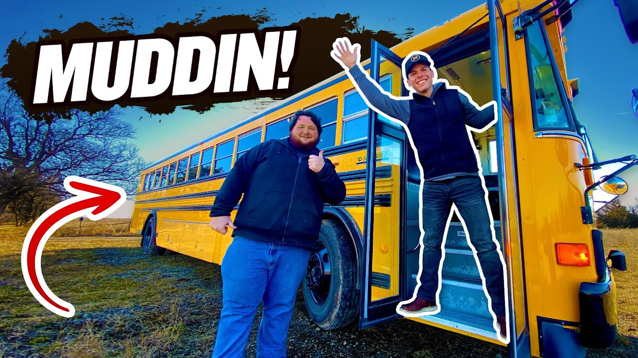 We went MUDDING on a school bus! (with Westen Champlin)