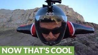 Epic selfie footage of wingsuit daredevil in Switzerland