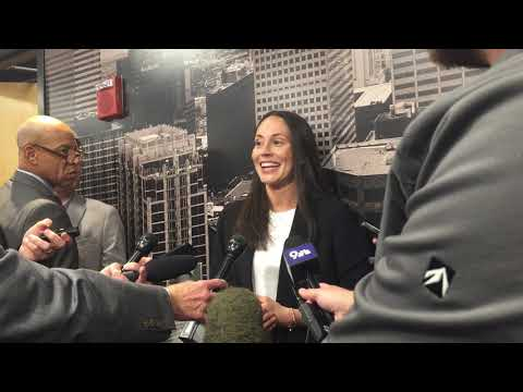 Sue Bird speaks with the media for the first time as a member of the Denver Nuggets organization