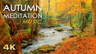 4K Autumn Meditation - UHD Beautiful Nature Video & Relaxing MUSIC - Forest River Sounds - 1h 2160p