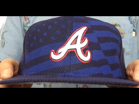 39b072cf110 Braves  2015 JULY 4TH STARS N STRIPES  Hat by New Era - YouTube